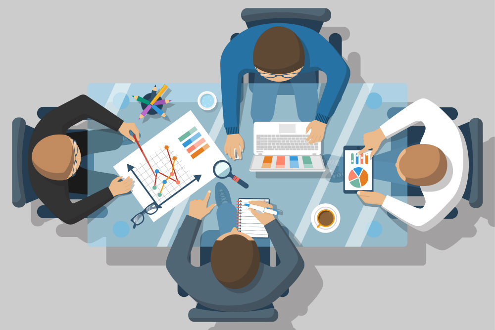 Reunião de equipe para análise de projeto